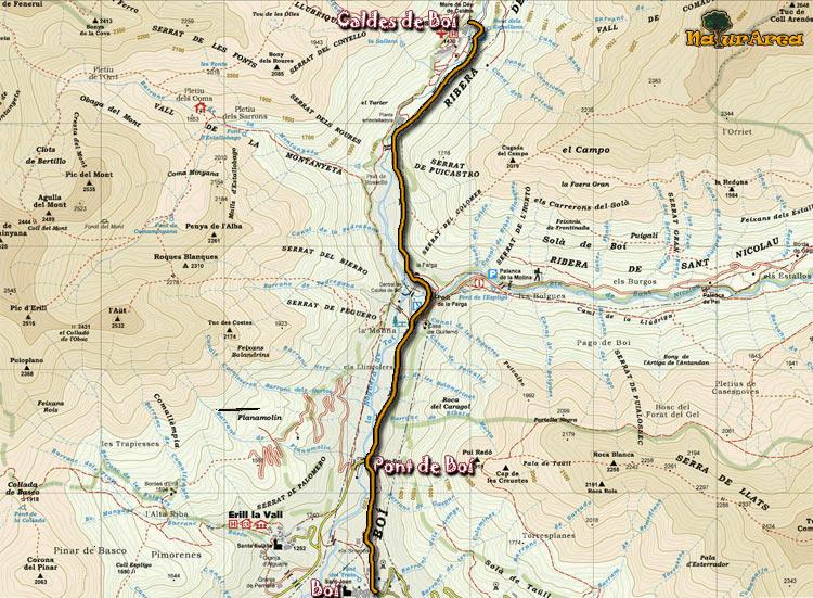 Caldes De Boi Mapa.Ruta Boi Caldes De Boi Ficha Y Perfil P N Aiguestortes Rutas Por Cataluna Naturarea